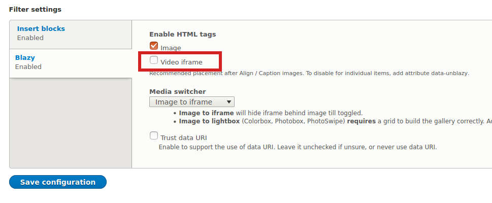 Drupal Blazy, turn off iframe at HTML filter