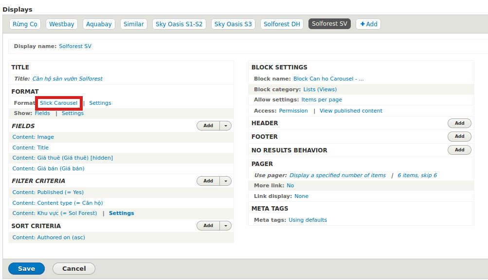 Slick view configuration